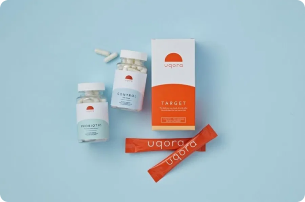 pills in bottle with branded packaging